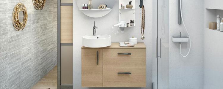 Meuble pratique pour petite salle de bains Delphy